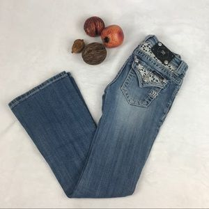 Miss Me Girls Boot Cut Jeans Crochet Bling Accents